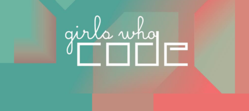 Girls Who Code Logo on a Teal and Salmon Geometric Background.