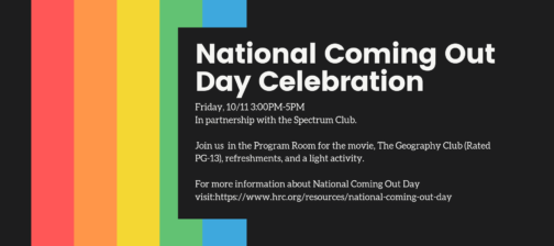 Poster for National Coming out day celebration